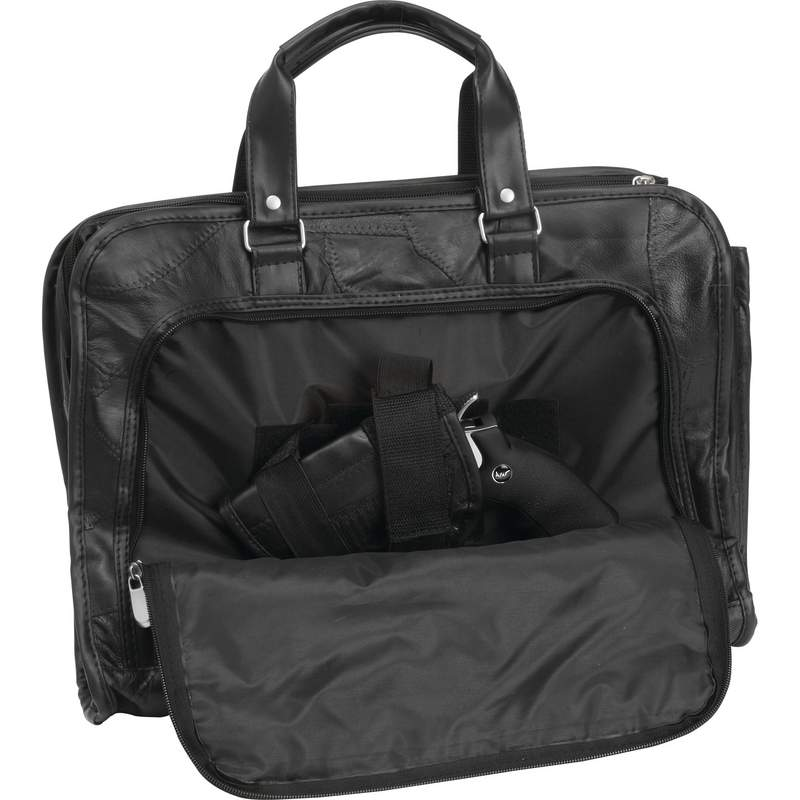 Embassy Buffalo Leather Concealed Carry Briefcase with