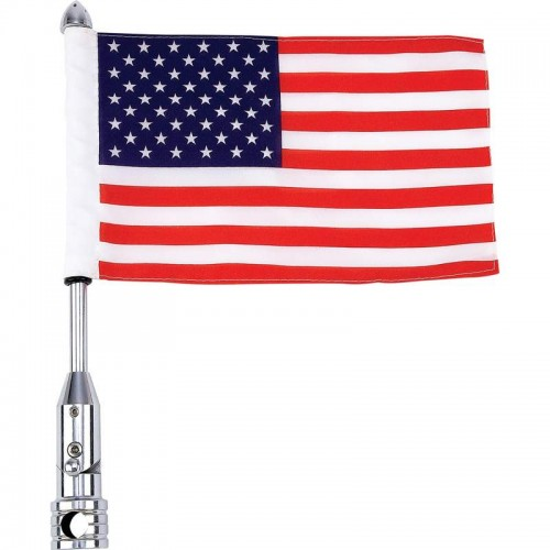 Diamond Plate Motorcycle Flagpole Mount and Polyester USA Flag