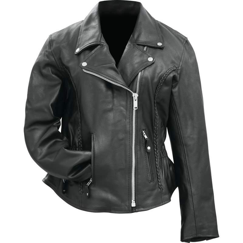 Fully Lined Ladies Buffalo Leather Motorcycle Jacket ...