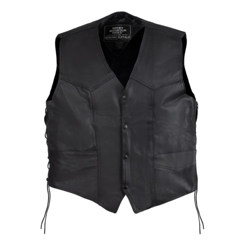 Buffalo Leather Vest With Conceal Carry Gun Pockets - Size Large