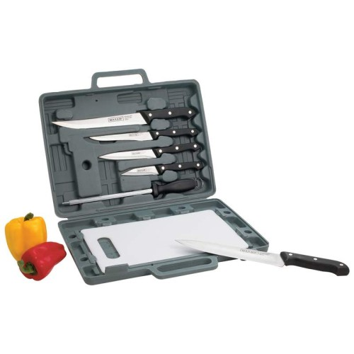 Maxam Stainless Steel Knife Set with Cutting Board and Case