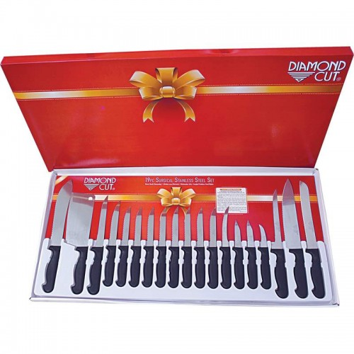 Diamond Cut 19pc Polypropylene and Surgical Stainless Steel Cutlery