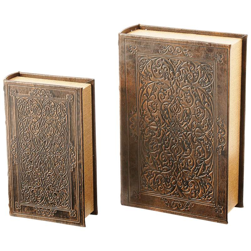 Gold Tone Imitation Pages Magnetic Closure 2pc Faux Book