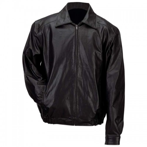Men's Solid Genuine Leather Bomber-Style Jacket - Size 3X