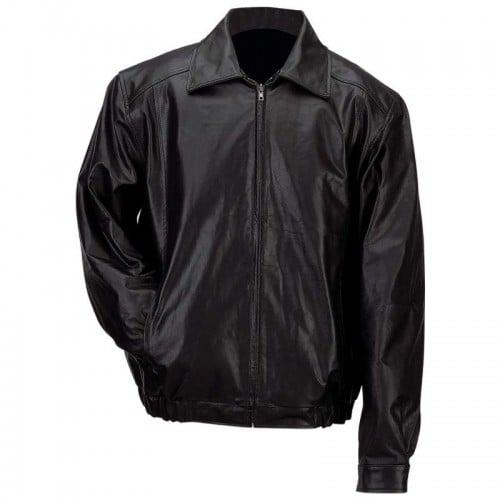 Men's Solid Genuine Leather Bomber-Style Jacket - Size Medium