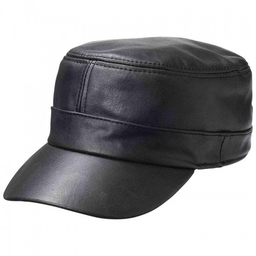 Casual Outfitters Adjustable Solid Black Lambskin Leather Cap