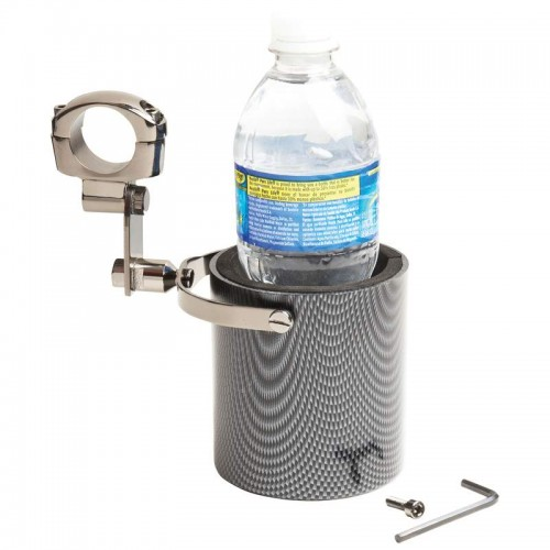 Diamond Plate Graphite Motorcycle Cup Holder with Adjustable Clamp