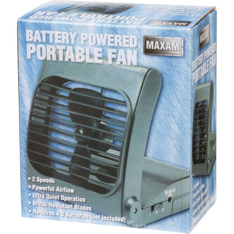 Battery Portable Fan : Maxam battery powered portable fan with speed power