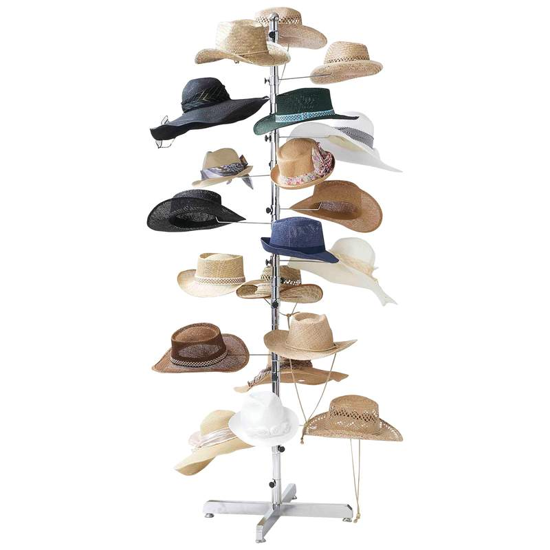 Casual Outfitters Floor Display Chrome Hat Rack Holds 20