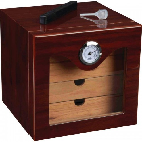 Kassel Cedar Lined Humidor with Analog Hygrometer and Humidifier