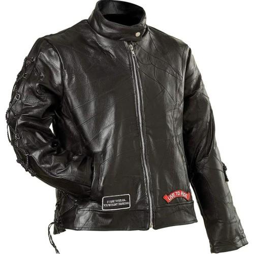 Diamond Plate Ladies Black Buffalo Leather Motorcycle Jacket - S