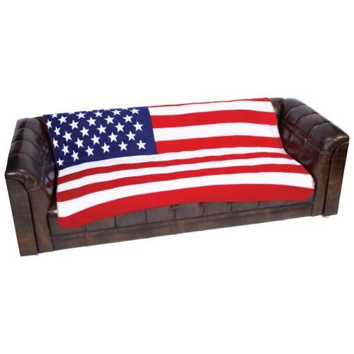 "United States Flag Print Super Soft 50"" x 60"" Polyester Fleece Blanket"