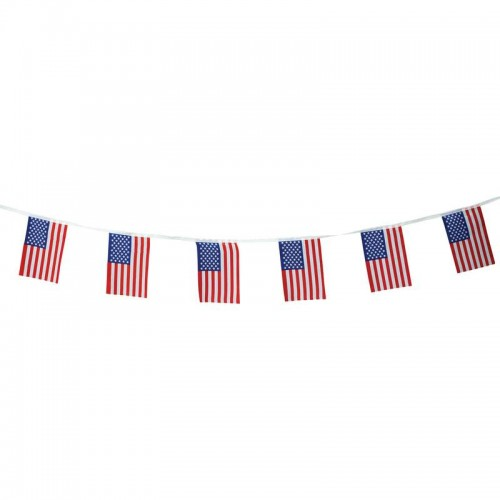 """100% Polyester 6"""" x 9"""" String with 16 USA Flags"""