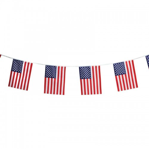 """100% polyester 12"""" x 18"""" String with 12 USA Flags"""