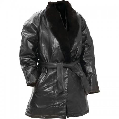 Italian Stone Design Ladies Coat with Fur Collar - Size Large