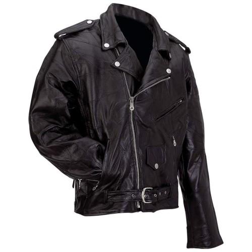 Diamond Plate Rock Design Buffalo Leather Motorcycle Jacket-  4X