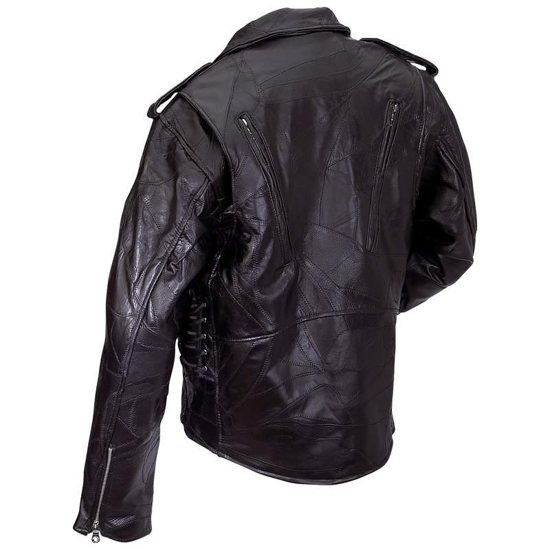 Diamond plate leather motorcycle jacket