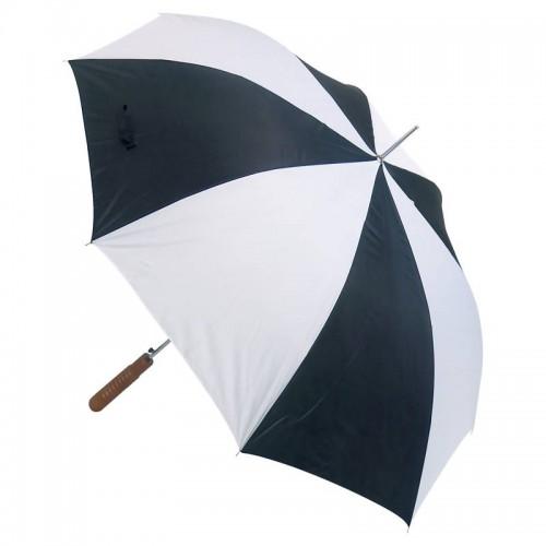 "48"" Auto Open Umbrella with White and Black Alternating Nylon Panels"