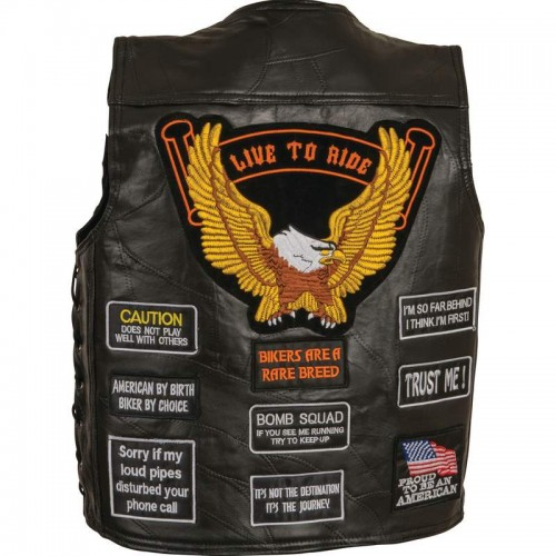 Rock Design Leather Concealed Carry Vest with Patches - Size Large