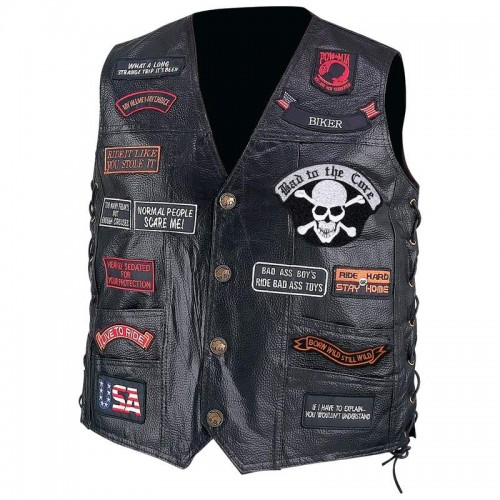 Pebble Grain Buffalo Leather Biker Vest with 23 Patches - Size Medium
