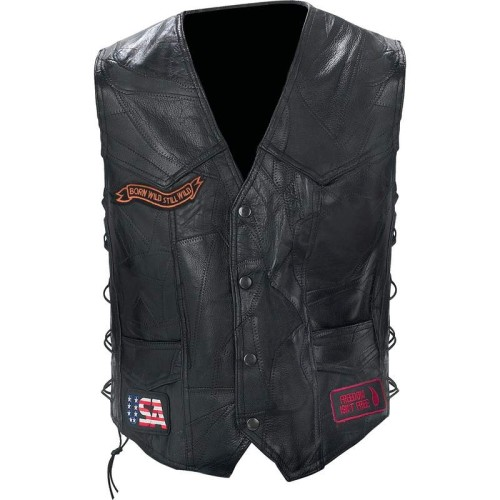 Rock Design Buffalo Leather Biker Vest with Patches- 4X