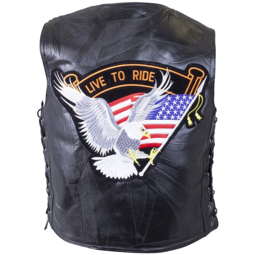 Diamond Plate Rock Design Genuine Buffalo Leather Vest with Eagle Patch - Size 3X