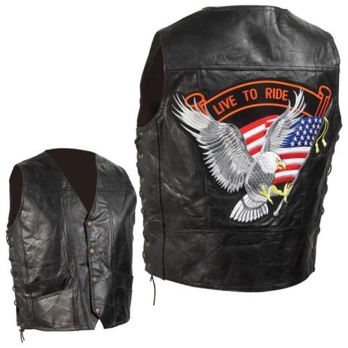 Diamond Plate Black Pebble Grain Leather Biker Vest - Size 2X