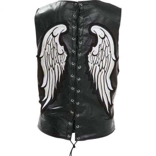 Ladies Rock Design Genuine Leather Angel Wing Vest - Size Medium