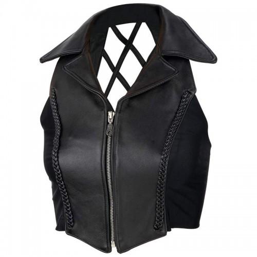 Diamond Plate Ladies Black Solid Genuine Leather Vest - Size Medium
