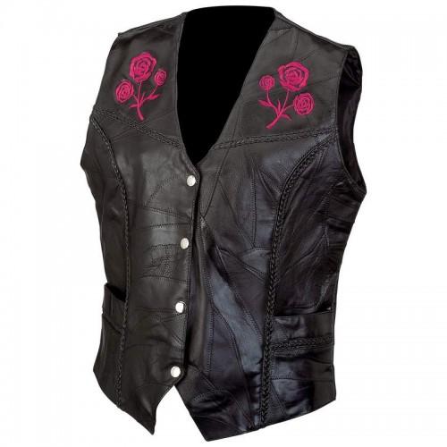 Live-Ride-Rock Ladies Rock Design Buffalo Leather Vest - Size Medium