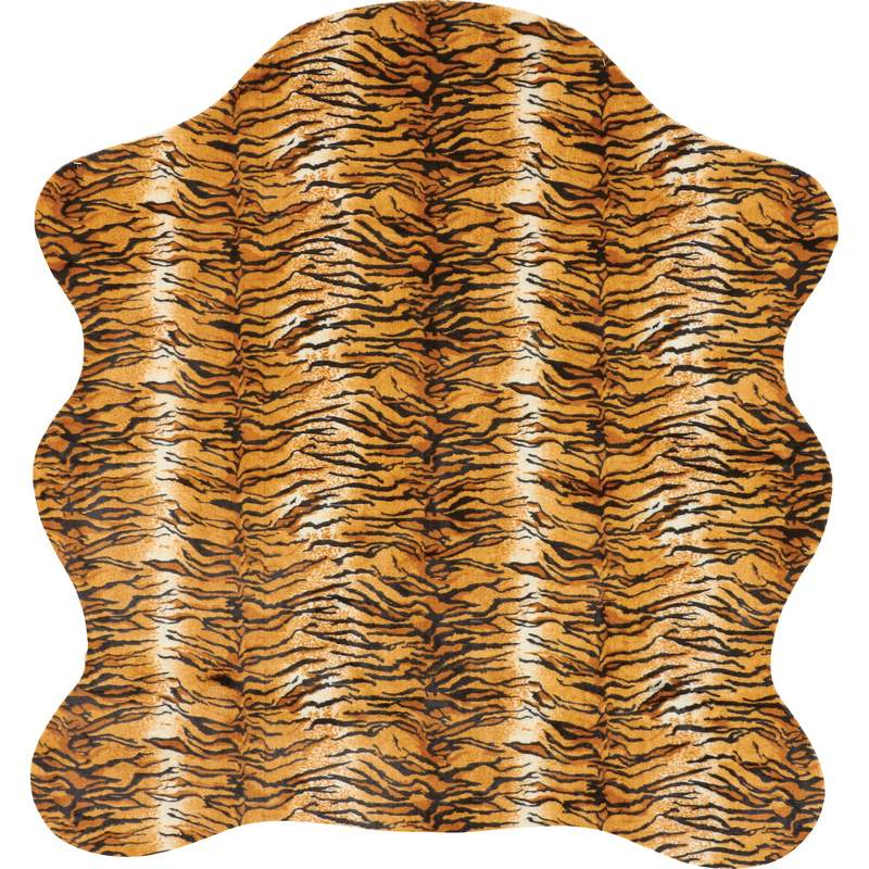 "56"" X 61"" Tiger Print Rug With Slip-Resistant Latex"