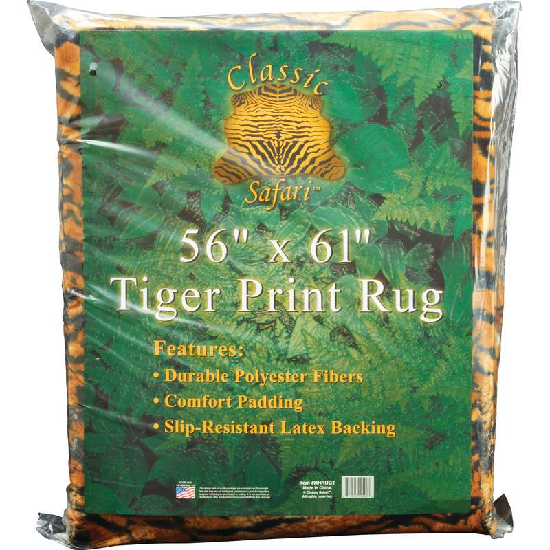 56 Quot X 61 Quot Tiger Print Rug With Slip Resistant Latex