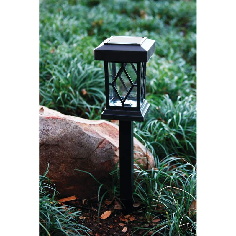 6pc Solar Led Light Set With Ground Stakes And Wall Fence