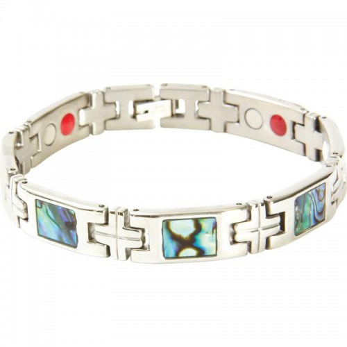 Stainless Steel Bracelet with Abalone Stones and 14 Magnets