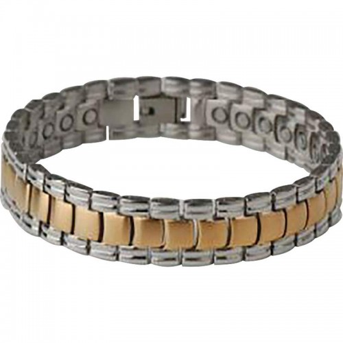 Stainless Steel Bracelet with IP Gold Plating and 22 Magnets