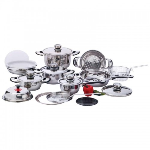 22 PC 12-Element, High-Quality, Heavy-Duty Stainless Steel Cookware Set