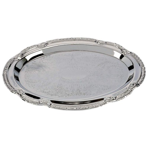 "Sterlingcraft Nickel Plated 9-3/8"" x 6-3/8"" Oval Serving Tray"