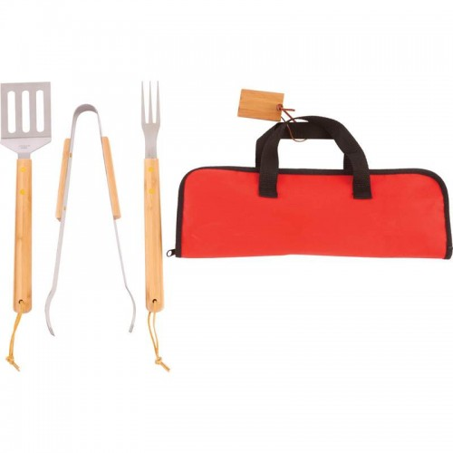 Chefmaster Stainless Steel Barbeque Tool Set with Bamboo Handles