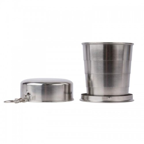 8.45 oz (250 ml) Stainless Steel Collapsible Cup with Key Chain
