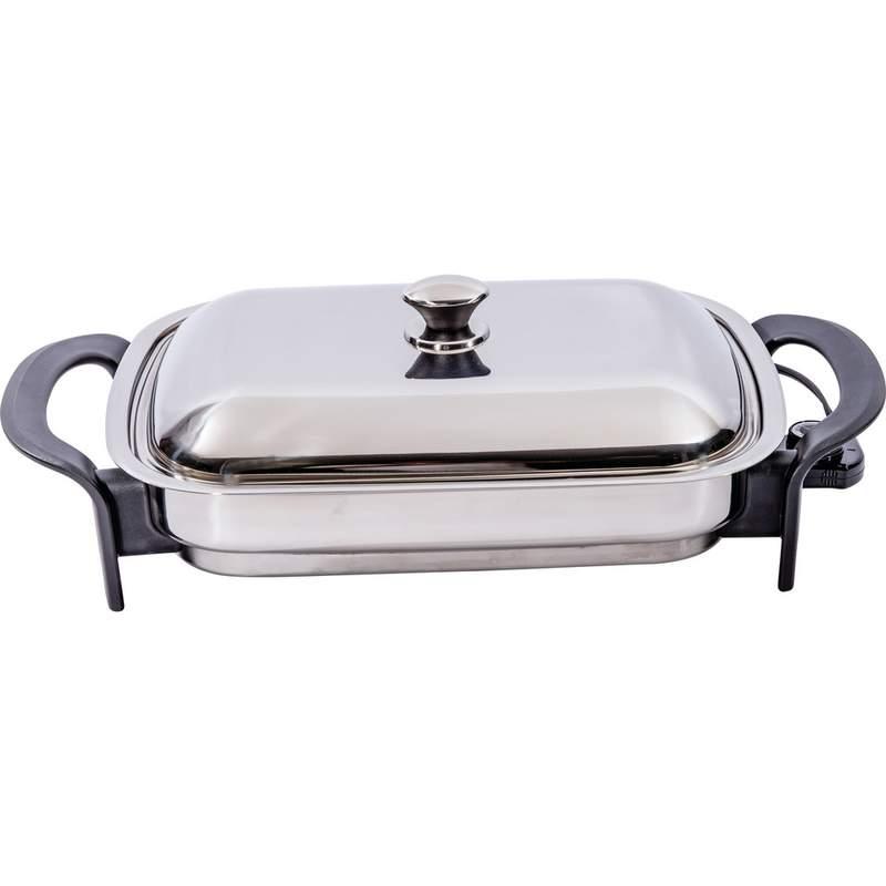 "Kitchen Skillet: Precise Heat T304 Stainless Steel 16"" Rectangular Electric"