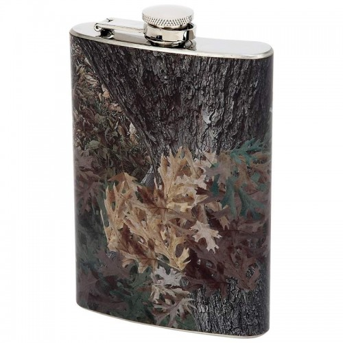 Maxam 8oz Stainless Steel Flask with Camouflage Fabric Wrap