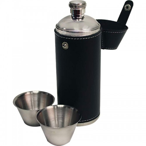 Maxam 10oz Stainless Steel Flask with 2pc Shot Cups and Case