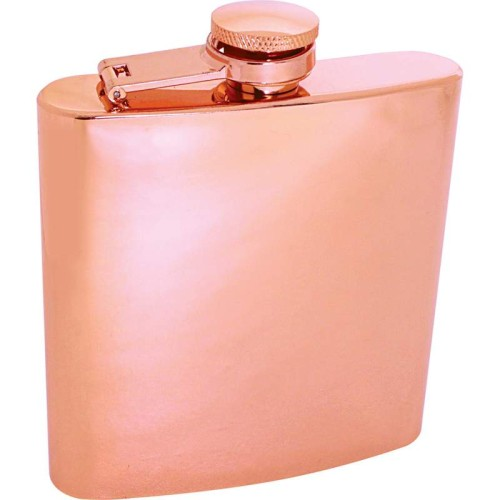 6 oz Copper-Tone Plated Stainless Steel Flask with Screw Down Cap