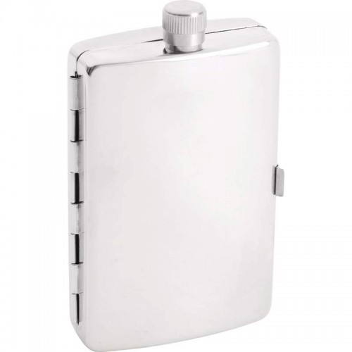 2.5 oz Maxam Stainless Steel Pocket-Sized Flask with Cigarette Holder