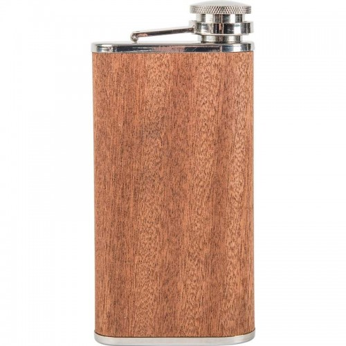 9 oz Wide Mouth Stainless Steel Flask with Sapele Wood Wrap