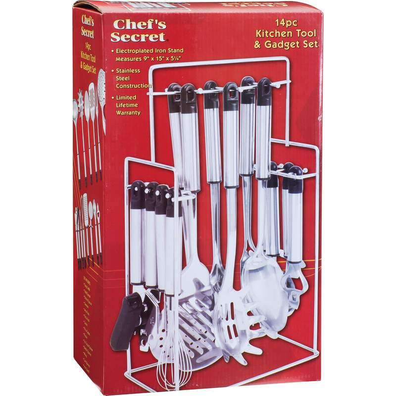 Chef S Secret Pc Stainless Steel Kitchen Tool Set With Rack