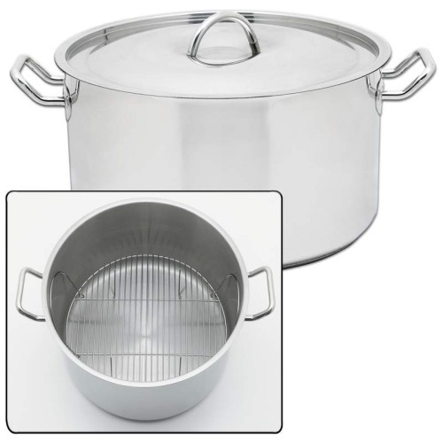 """Stainless Steel 42qt """"Waterless"""" Stockpot with Riveted Handles"""