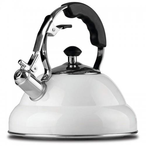 2.6 liter White Stainless Steel Tea Kettle with Copper Bottom