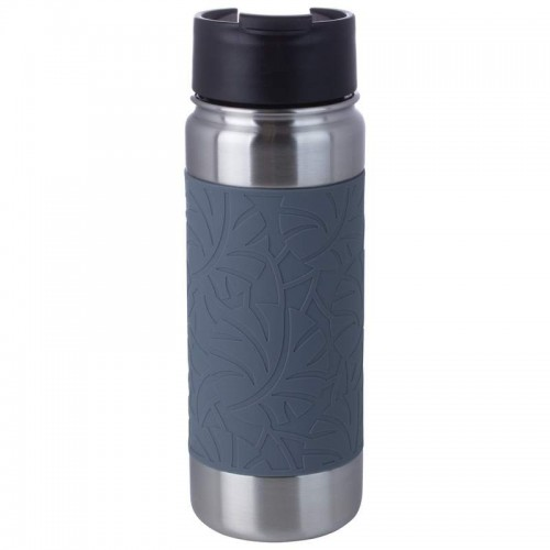 18 oz Double Wall Vacuum Bottle with Gray Wrap and Flip Top Lid