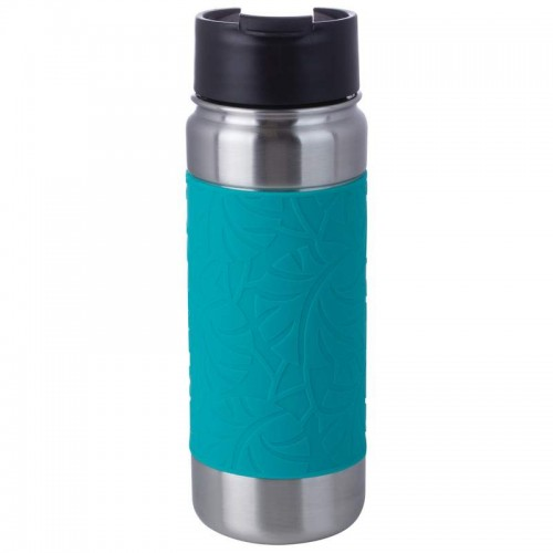 18 oz Double Wall Vacuum Bottle with Teal Wrap and Flip Top Lid